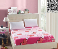 Quality Fitted Sheet Love Heart Cotton Twill Home Textile Bed Single Queen King Size Hot Sale