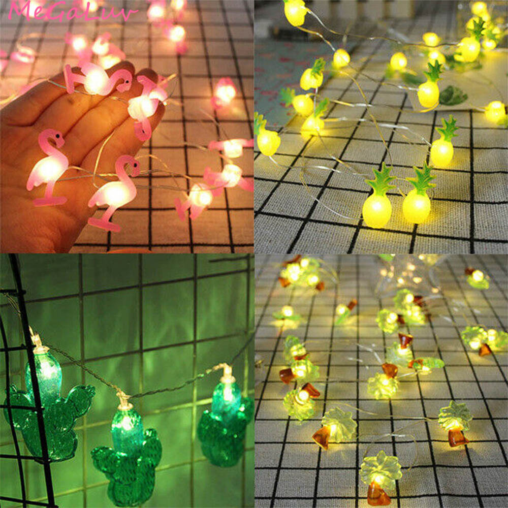20pcs Flamingo Unicorn LED String Light Hawaii Party Decor Pineapple Fairy Lights Tropical Party Wedding Birthday Party Decor
