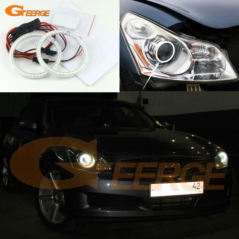 For INFINITI G35 G37 2007 2008 2009 HID XENON HEADLIGHT Excellent Ultra bright illumination smd led Angel Eyes kit for land rover freelander lr2 2007 2008 2009 2010 xenon headlight excellent ultra bright illumination smd led angel eyes kit