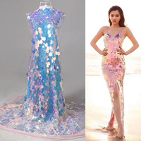 New laser fish scale sequins mesh fabric french designer gradually changes color ichthyogram net fabric lace gauze material