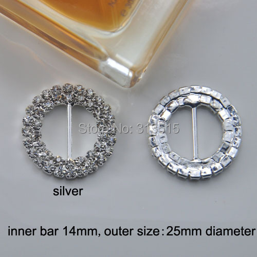 M0173 100pcs 14mm inner bar outer diameter 25mm Round Crystal Rhinestone Ribbon Buckle in Sliver