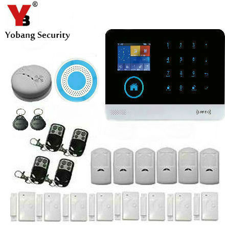 Yobang Security Wireless GSM&WIFI Smart Home Security Alarm Systems Kits Wireless Door/window sensor pir sensor keep house safe