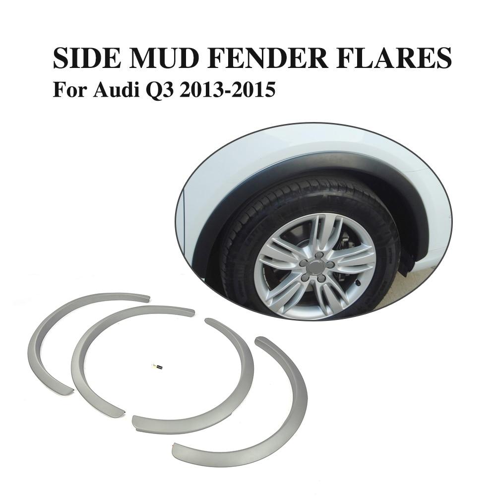 4PCS/SET PP Grey Wheel Archs For Audi Q3 2013 2015 Auto Side Fender Flare Eyebrows