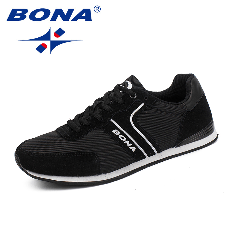 BONA New Classics Style Men Running Shoes Lace Up Men Athletic Shoes Outdoor Jogging Shoes Suede Sneakers Shoes Free Shipping colour block lace up splicing athletic shoes