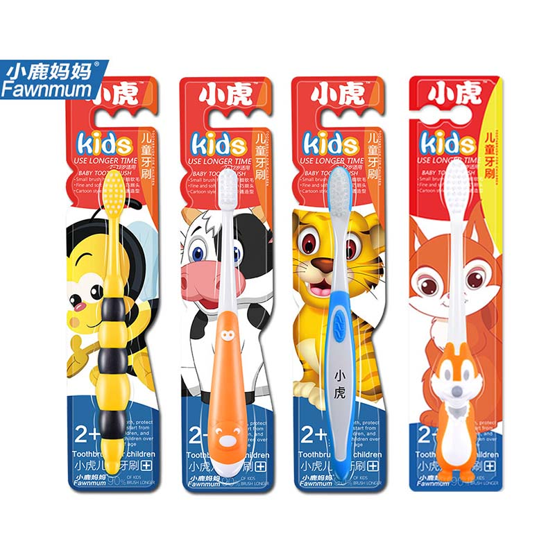 Cartoon Animal Children Toothbrush Natural Wheat Straw Safety Oral Care Nano-antibacterial Mini Heads Baby Kids Tooth Training image