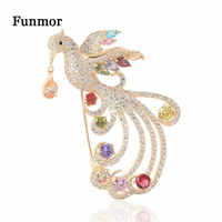 Funmor Luxo Broche de Cobre Cheio Zirconia Phoenix Corsage Para Mulheres Lapela Casaco Feminino Vestido De Cristal Colorido Acessórios Presentes