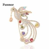 Funmor Luxus Kupfer Brosche Voller Zirkonia Phoenix Corsage Für Frauen Weibliche Bunte Kristall Kleid Mantel Revers Zubehör Geschenke