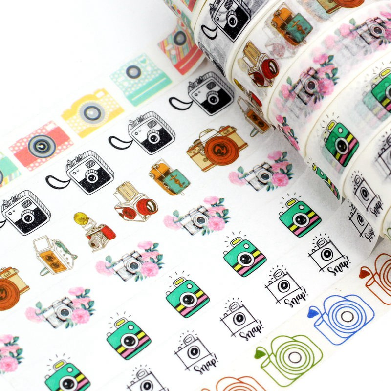 1.5cmx10m Blue Camera Washi Tape Set Planner Scrapbooking Cute Cinta Adhesiva Decorativa Masking Tape Japanese Office Stationery