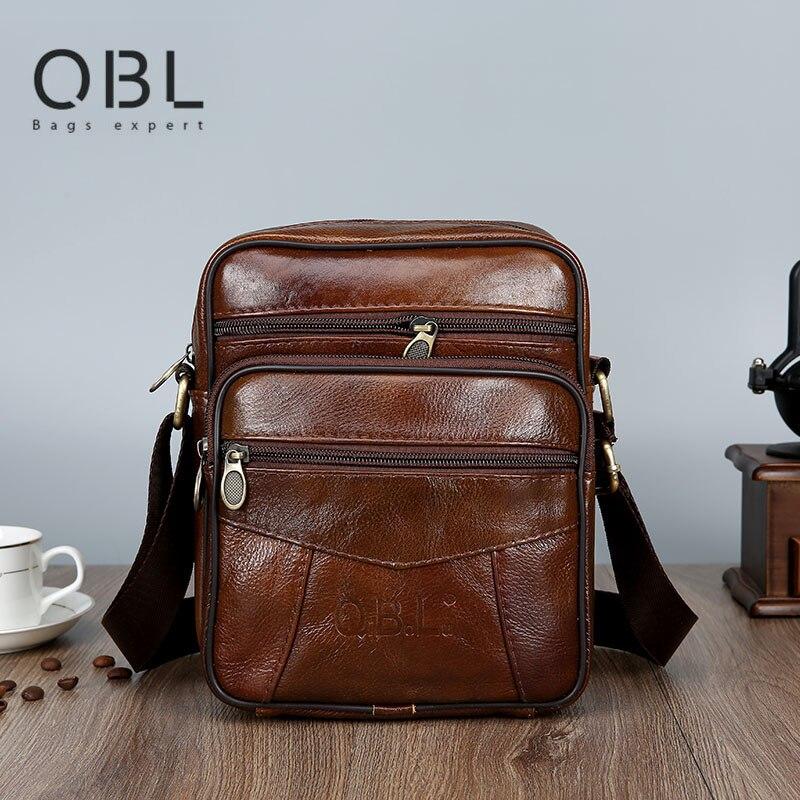 QiBoLu Cow Mens Genuine Leather Bags Flap 2019 Travel Business Messenger Bag Men Crossbody Casual Solid Zipper Shoulder Handbags