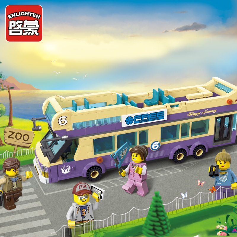 Enlighten building blocks toys for children City police series Sightseeing Bus car-styling model Compatible with Lego set bricks city series police car motorcycle building blocks policeman models toys for children boy gifts compatible with legoeinglys 26014