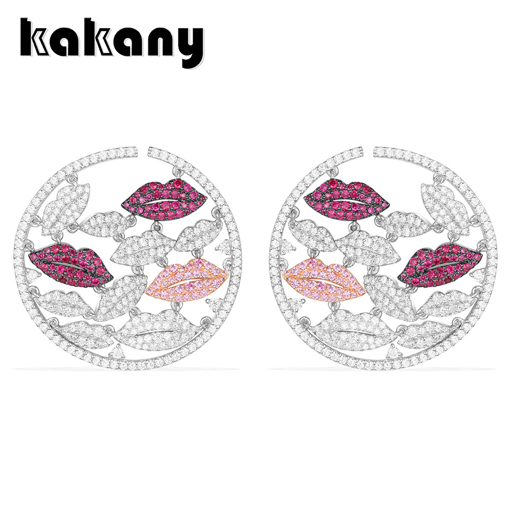 Billede af Kakany 925 Sterling Silver Round Lip Earrings Set With Sparkling Crystals European And American Fashion Women's Fashion Jewelry