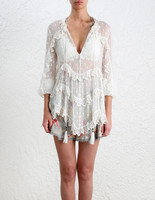 Women White Silk And Cotton Frill Sheer Blouse Divinity Scallop Ruffle Top