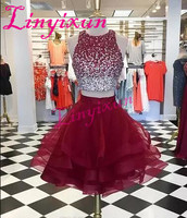 Short Burgundy Prom Dress 2018 Two Pieces Cheap Jewel Neck Bling Beaded Bodice Ruffles Skirts Organza Homecoming Party Dresses
