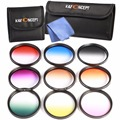 9pcs/lot 55mm Graduated Color Lens Filter Kit +Filter Bag&Cloth For Sony A55 A55 A57 A65 A77 A100 DSLR Camera with 18-55mm Lens
