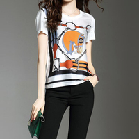 Ecombird Horse Head Printing Women Tops Novelty T Shirt 2017 Summer Woman Shirt For Ladies Girl