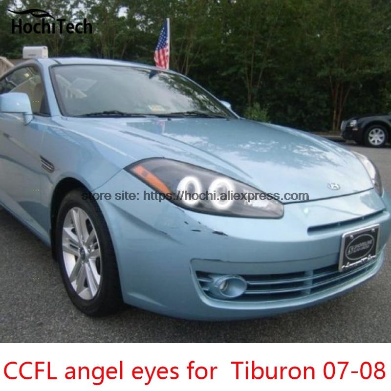 Hochitech Ccfl Angel Eyes Kit White 6000k Halo Rings Headlight For Hyundai Tiburon 2007 2008