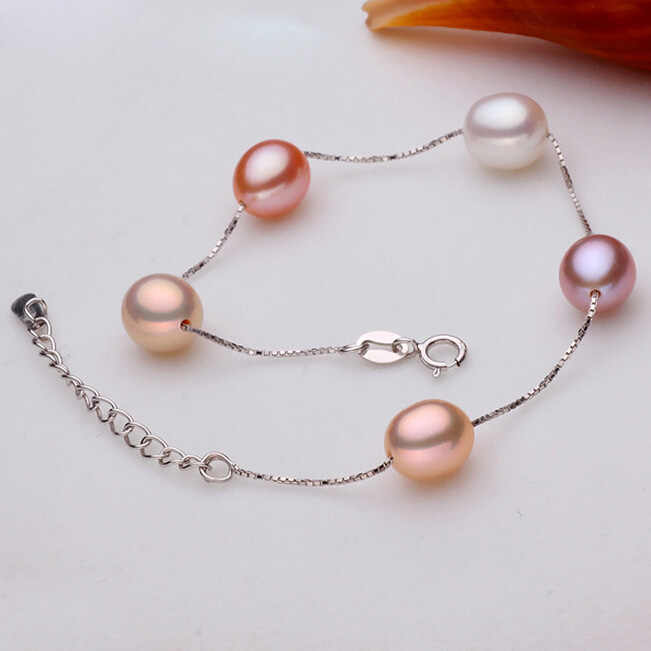 ZHBORUINI チャームブレスレットパールジュエリーナチュラル淡水真珠高品質 925 スターリングシルバー女性ギフト