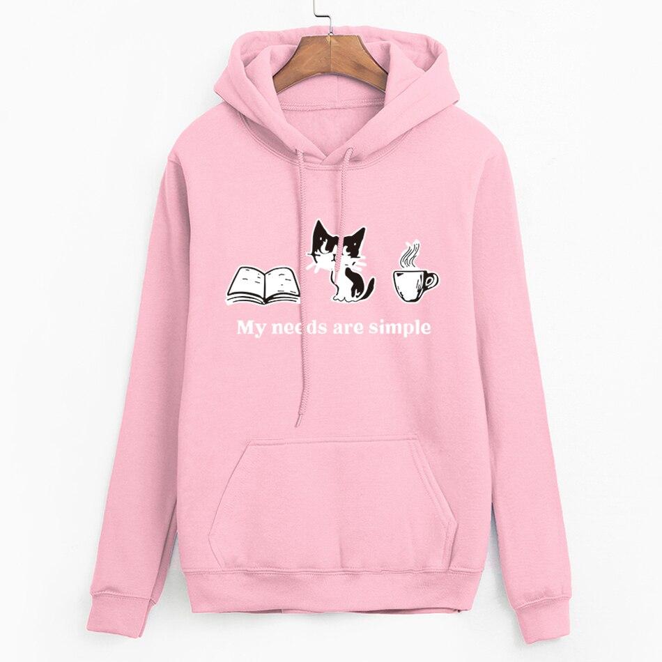 Long Sleeve Casual Fleece Sweatshirts 2019 Cat Printed Female Harajuku Hooded Hoodies Autumn Women Streetwear Cute Pullovers