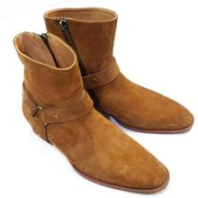 Men Zip Ankle Boots 2018 Fashion Square Toe Chains Men Boots Suede Leather Square Heel Party Shoes Men Botas Militares недорого