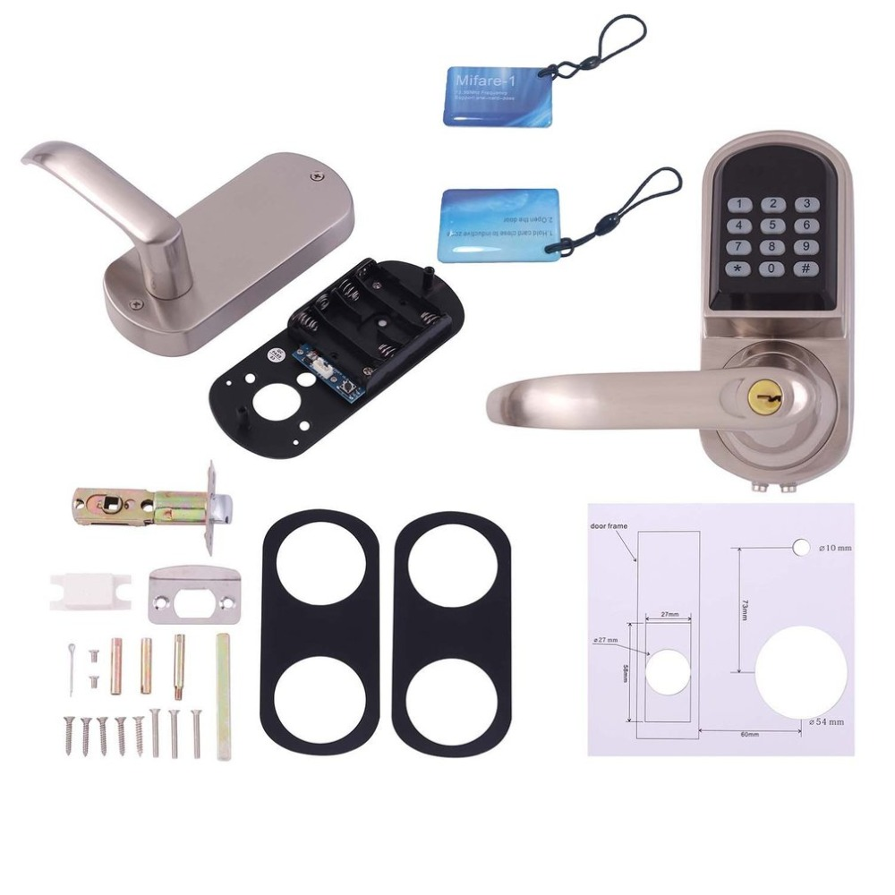 Здесь можно купить  OS8015MF Electronic Keyless Deadbolt Door Lock Unlock with Code MI-fare Cards Mechanical Key Security Lock System  Безопасность и защита
