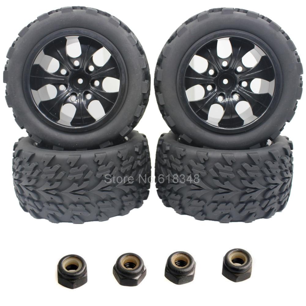 4 Pcs Karet RC Mobil Ban & Wheel Rim Hex 12mm Untuk 1/10 Skala Rakasa HSP BRONTOSAURUS 94111 Redcat Volcano EPX Melebihi Infinity