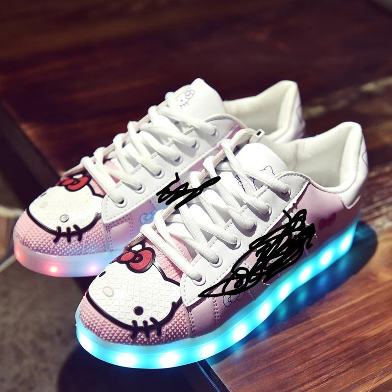 ФОТО Hello Kitty Led Light Shoes Women Pink Glowing Shoes Fashionable Womens  Cartoon Animation Light Up Luminous Sapatos Feminino PU