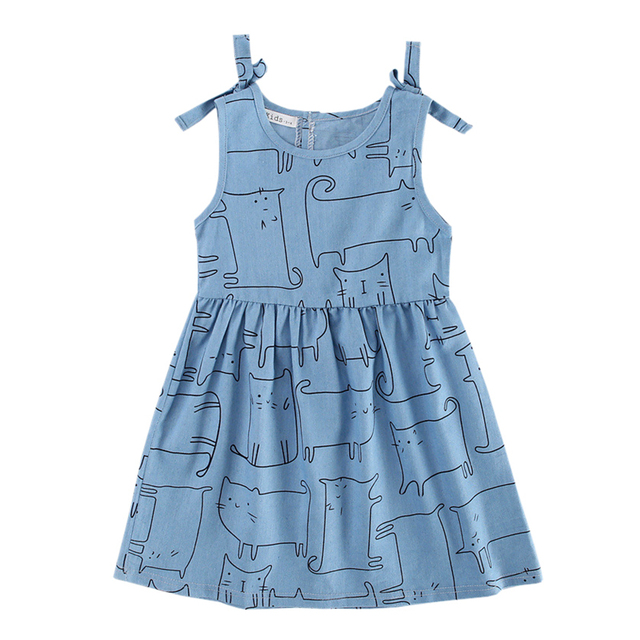 a8be5f68661 Baby Girls Denim Dress 2017 New Arrival Jean Cartoon Print Dresses Kids  Girls Summer Bow Cotton Casual Vest Dress 3-10Y GD110