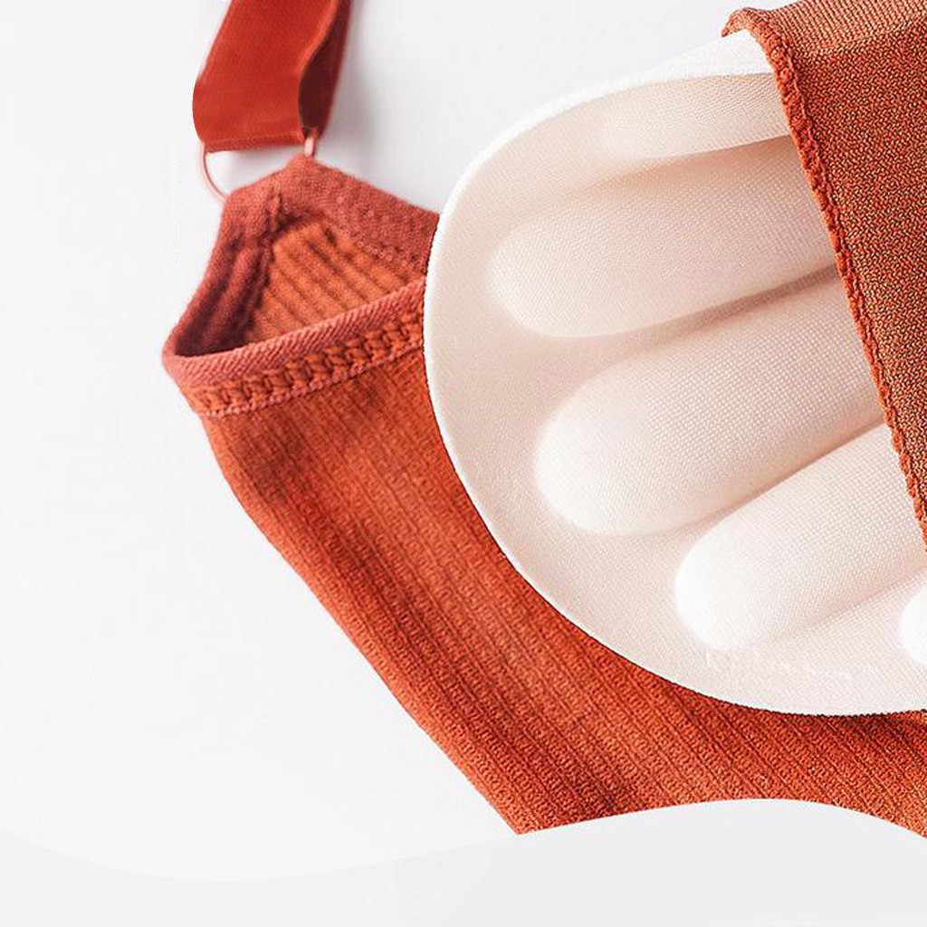Muqgew Wanita Seksi Tipis Renda Bra Warna Solid Seamless Wrap Dada Push Up Bra Sehari-hari Nirkabel Celana Dalam Celana Dalam Olahraga bra