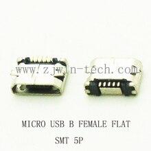 10 шт./лот 5 Булавки Micro USB 5 Булавки длинные Булавки SMD Разъем для мобильного телефона Mini-USB разъем PCB Сварки разъем плоский рот
