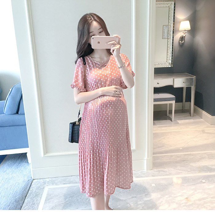 Casual Long Pregnancy Dresses For Women Short Sleeve Loose Maternity Dresses Summer New Chiffon Pregnant Dress Maternity Clothes (4)