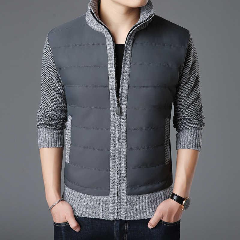 2020 새로운 패션 브랜드 스웨터 망 카디 건 두꺼운 슬림 맞는 점퍼 니트 지퍼 따뜻한 겨울 한국 스타일 캐주얼 남자 옷