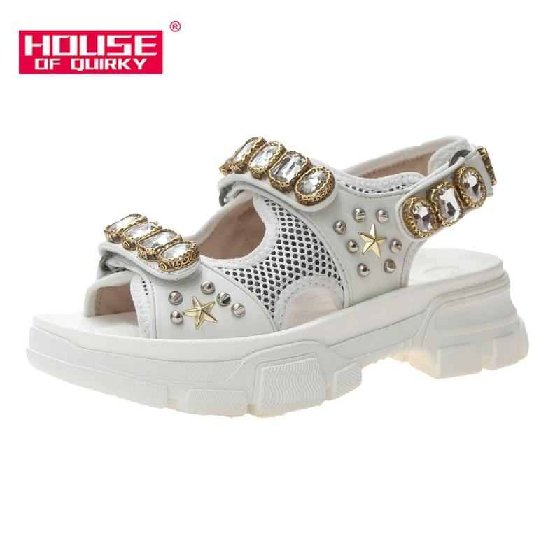 Évider femmes sandales à bout ouvert mode perles de diamant femmes chaussures compensées en plein air femmes imperméable plate-forme chaussures d'été 2019