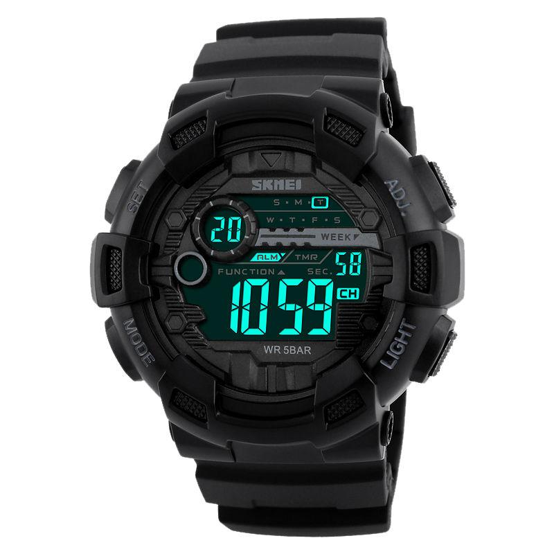 Prix pour Skmei numérique sport montre hommes compte à rebours chronographe double temps commutateur led électronique montres militaire montre-bracelet 1243
