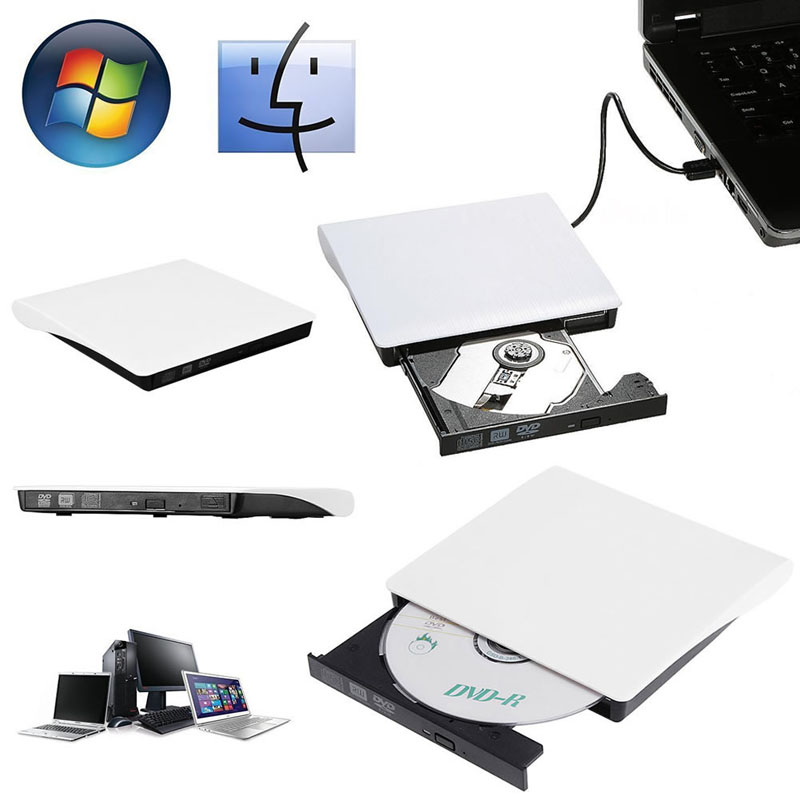 Slim External USB3.0 Recordable DVD-ROM CD-RW DVD-RW Burner Drive For PC Laptop