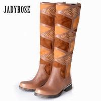 Jady Rose Brown Patchwork Women Knee High Boots Vinatge Riding Boots Flat Shoes Woman Platform Botas