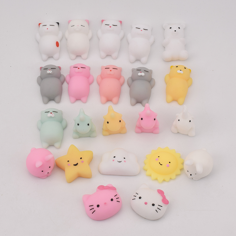 22pcs/Lot Cute Animals Decompression Toy Time Killer Squishy Toy Stress Ball Anti-Stress Toys Pressure Relief Soft
