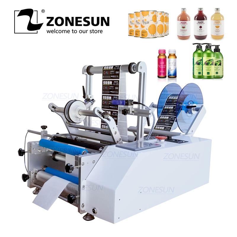 ZONESUN Semi automatic XL T801 Model PET Plastic Tin Can Round Glass Water Milk Juicer Bottle Labeling Machine