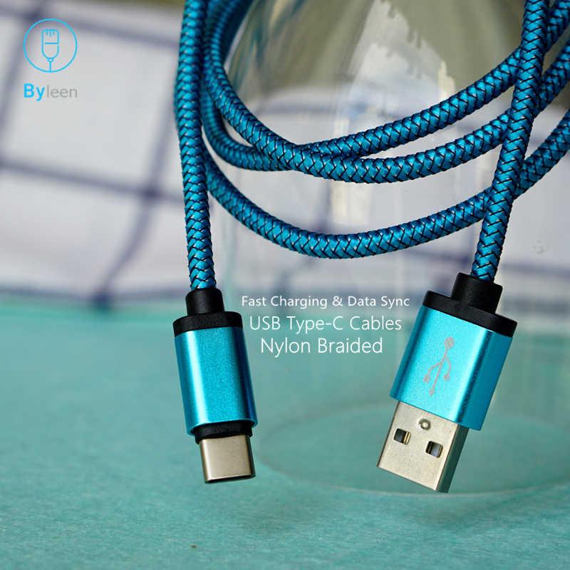 Byleen מתכת תקע USB סוג C מטען לסמסונג גלקסי הערה 8 9 S8 S9 בתוספת A9 כוכב A7 HTC u11 U12 + U10 חיים מהיר מטען