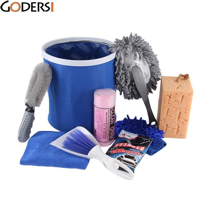 Godersi 9 pcs Car Wash Set DIY Vehicle Cleaning Tool Combination Vehicle Kit Car Cleaning Kit Towel/Sponge/Water Scraping Plate
