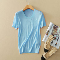 7 Colors 100 Cashmere Knitting T Shirt Spring Autumn Woman T Shirt O Neck Short Sleeve