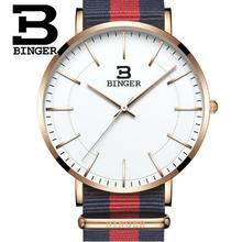 Top Luxury Brand Binger Men Watch Nylon Fabric Quartz Wristwatch Sport Unique Design FashionWatches For Man