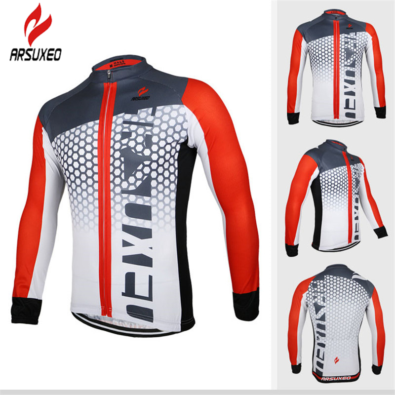 ARSUXEO Cycling Jersey For Men Anti Sweat Breathable Mountain Road Bike Jerseys Full Zipper Thermal Transfer Cycling Cloth