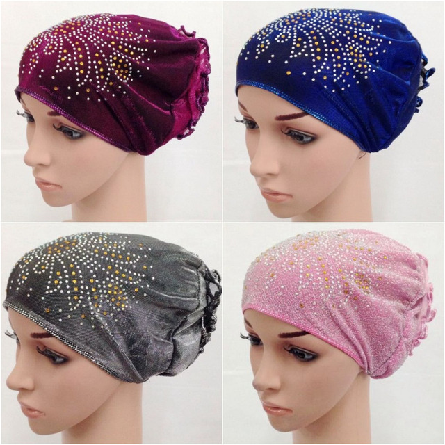 New Style Flower Lurex Design Islamic Scarves Wraps Hijab caps Womens  Muslim Inclusive Cap Muslims Hat