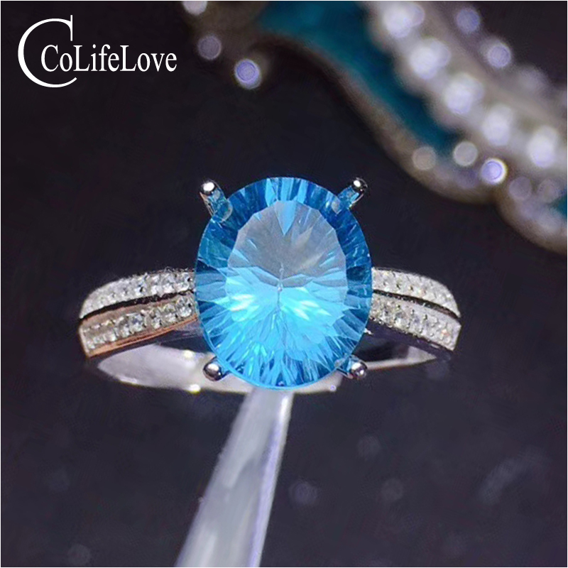 CoLife Jewelry 925 Silver Topaz Ring for Party 9mm * 11mm Natural Sky Blue Topaz Gemstone Ring Sterling Silver Topaz Jewelry