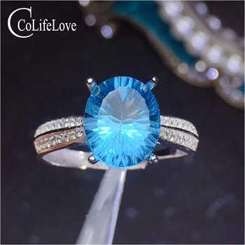 CoLife Jewelry 925 Silver Topaz Ring for Party 9mm * 11mm Natural Sky Blue Topaz Gemstone Ring Sterling Silver Topaz Jewelry - DISCOUNT ITEM  0% OFF All Category