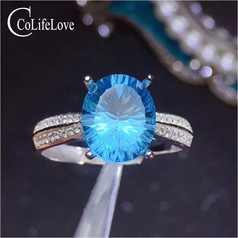 CoLife biżuteria ze srebra próby 925 Topaz pierścień na imprezę 9mm * 11mm naturalne błękitny Topaz kamień pierścień Sterling srebrny Topaz biżuteria w Pierścionki od Biżuteria i akcesoria na  Grupa 1