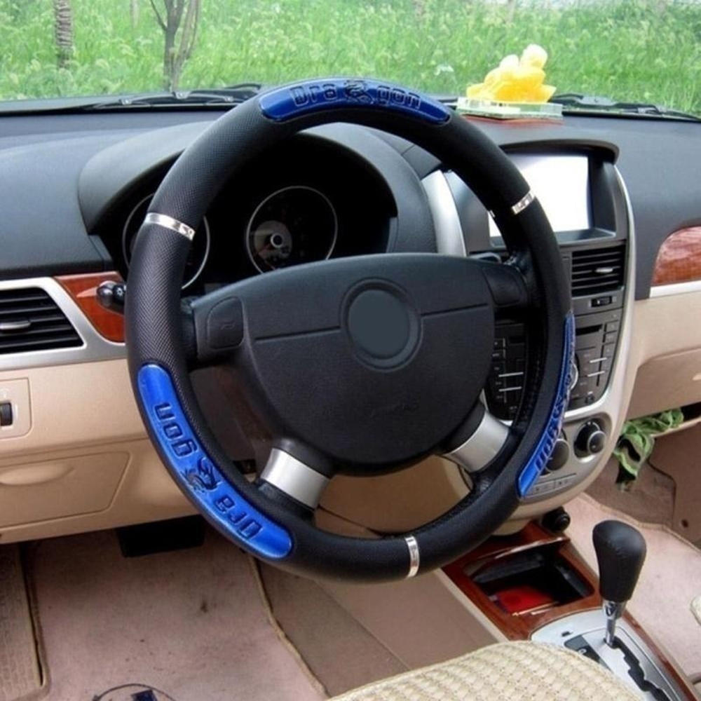 Universal Reflective Faux Leather Steering-Wheel /China Dragon Design Car Steering Wheel Covers Business Style Car Accessories(China)