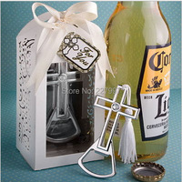 100 pcs / lot New Arrival Brilliantly Packaged Cross Bottle Opener Wedding Favors Free Shipping