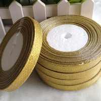 Real Hl5 Rolls (125 Yards) 10mm Gold Ribbon For Gift Packing Belt Wedding Party Christmas Embellishment Weaving Diy Crafts A699