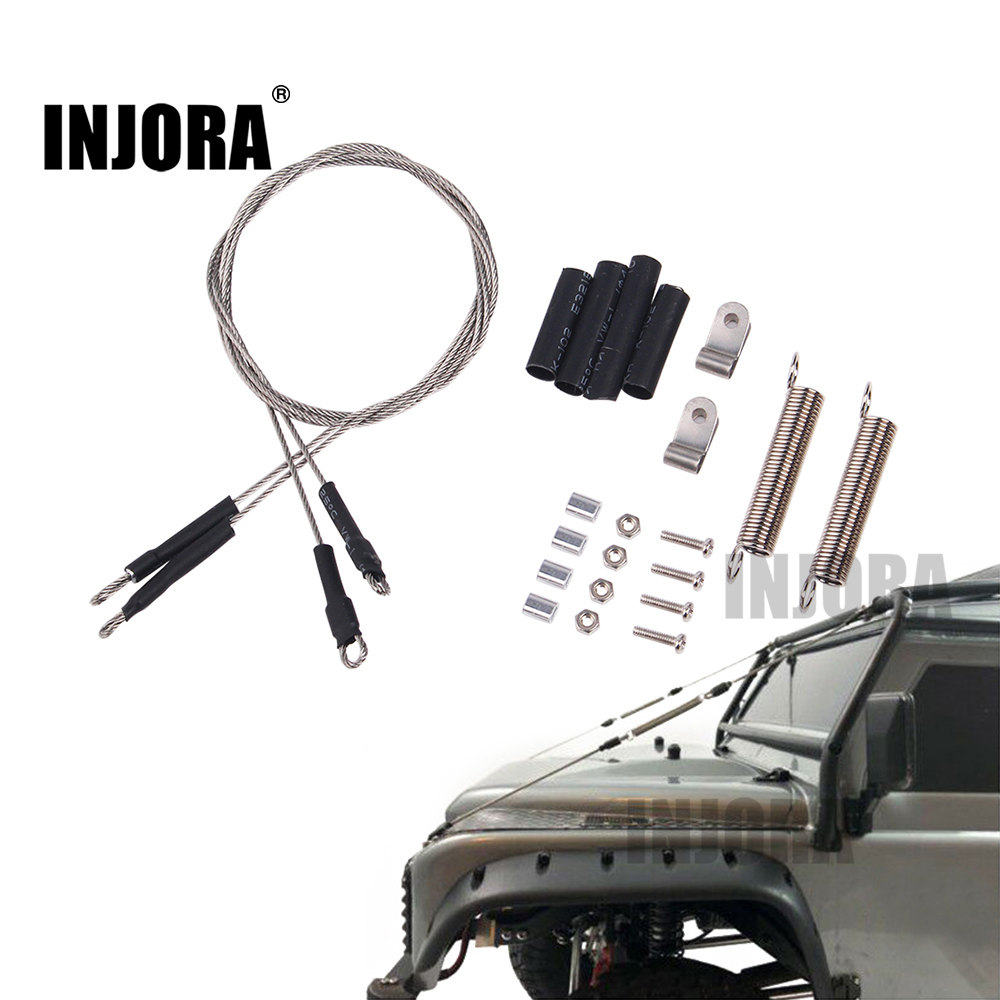 INJORA RC Car Modified Part Steel Rope for 1/10 RC Crawler Traxxas TRX-4 TRX4 Axial SCX10 RC4WD D90 D110 metal front bumper for 1 10 traxxas trx4 d110 rc crawler car part